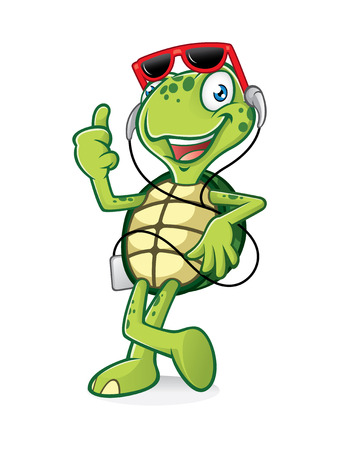 turtle is standing relaxed listening to music on earphones and a thumbs-up
