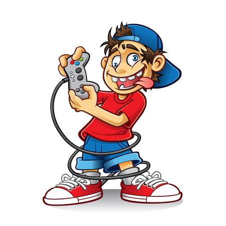 狂気の目と舌を出しているとゲームをプレイしている漫画若い人  イラスト・ベクター素材