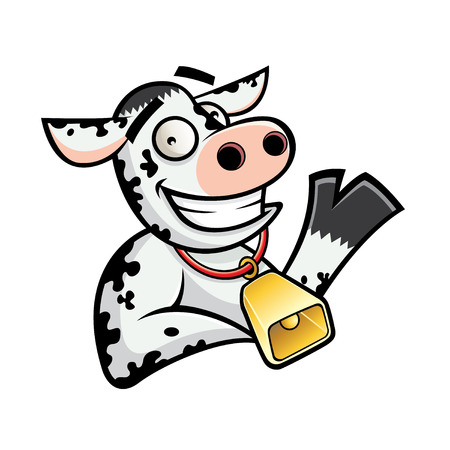 relajado: vaca divertida de la historieta era relajado y amable sonrisa gesto con la mano