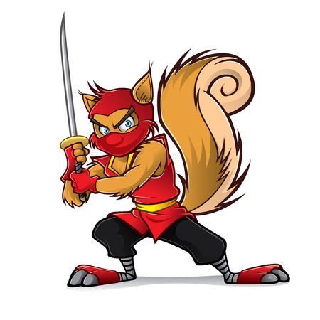 Ninja squirrel holding a samurai is ready for action