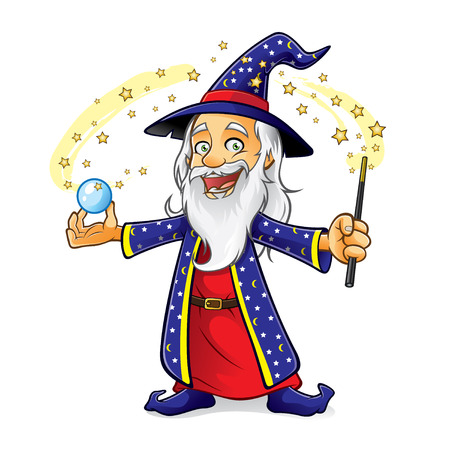 wizard is holding a crystal ball as he waved his magic wand and smiling happily Illustration