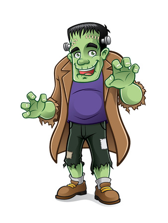 frankenstein monster is preparing to scare people with a friendly smile Illustration
