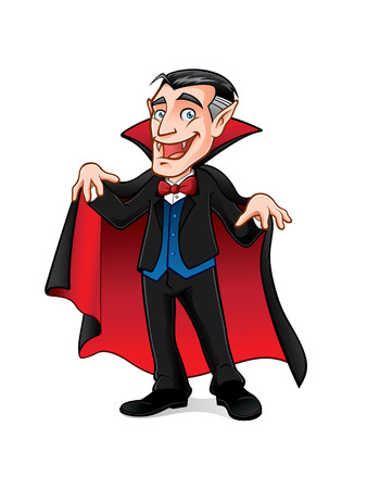 scare: vampire is preparing to scare people with a smile and expanding his cape