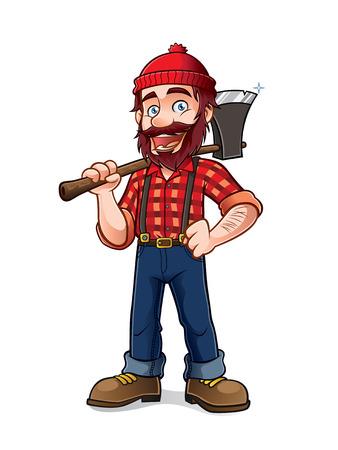 leñador: leñador que sostiene un hacha sobre su hombro con una sonrisa Vectores
