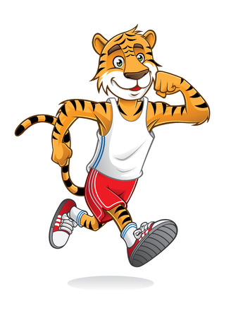 tiger is running like athletes runners Stock Illustratie