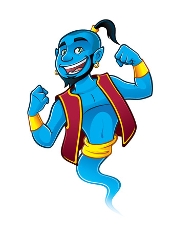 Blue genie being raised and clenched fist happily
