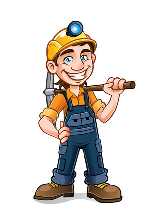 miners posing with a pickaxe on his shoulder and smiling happily Stock Illustratie