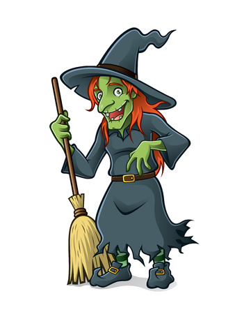 old witch are standing holding the broomstick and friendly smile