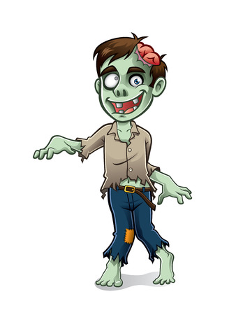 scare: zombies being hobbled to scare with a smile