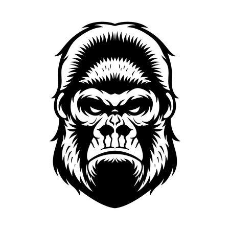 gorila: gorila cabeza vector ilustración gráfica en blanco y negro