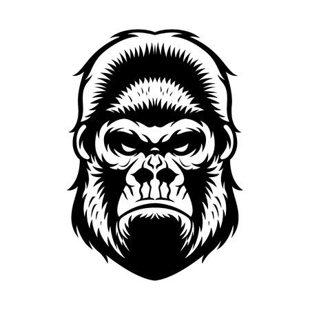 gorilla: gorilla head vector graphic illustration black and white