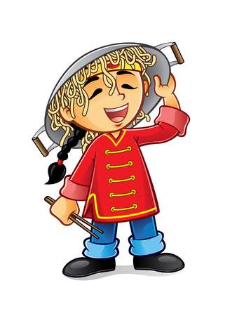 chinese boy is laughing holding a frying pan upside-down cap with noodles Illustration