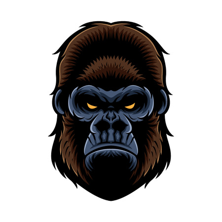 gorilla head vector graphic illustration with color