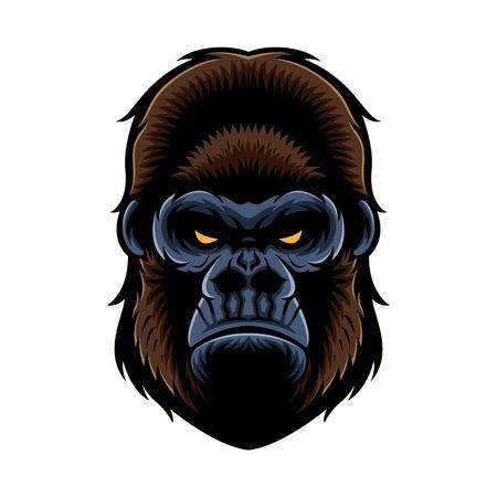 gorilla head vector graphic illustration with color