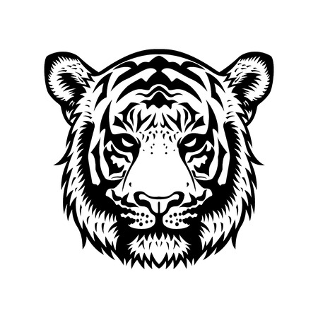 tiger head vector graphic illustration black and white
