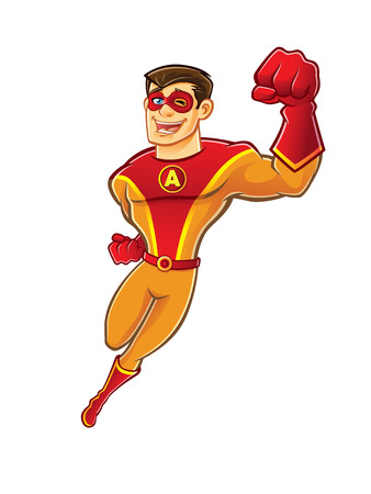 handsome cartoon superhero wearing a mask is flying while blinking and laughing happily