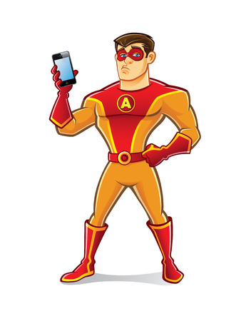 handsome cartoon superhero wearing a mask is holding a gadget with a bored expression