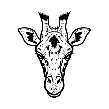 jirafa: vector de cabeza de jirafa ilustración gráfica en blanco y negro
