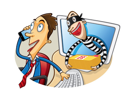 pillage: cartoon thief document in action when the employee was busy phone calls Illustration
