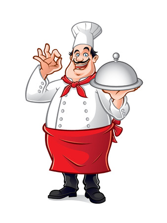 chubby cartoon: fat chef holding a tray of food, wrapping his fingers as a sign of delicious
