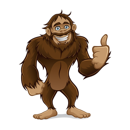 sasquatch standing friendly smile and a thumbs-up 일러스트