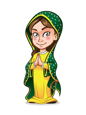 catholic: cute lady guadalupe being clasped her hands in the chest with wisdom and smiling