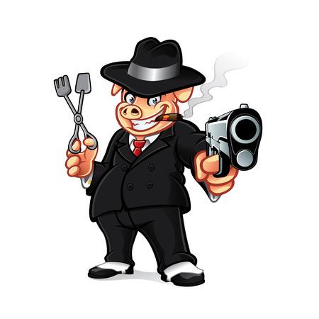 漫画豚ギャングはバーベキュー グリルを押しながら葉巻を吸っている間銃を置かれました。
