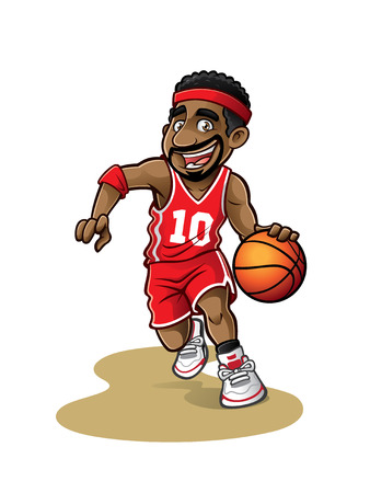canestro basket: giocatore di basket dei cartoni animati si sta muovendo palleggio con un sorriso