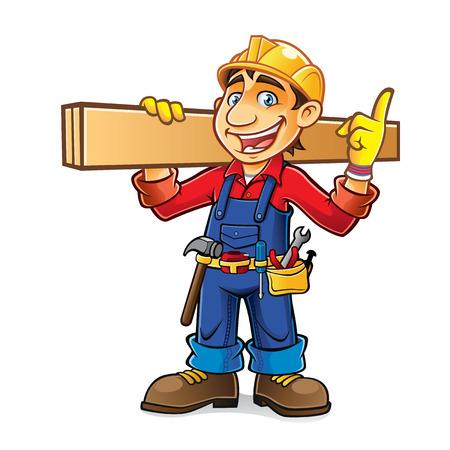 cartoon bouwer werd schouders een houten plank, terwijl het idee enthousiast te krijgen