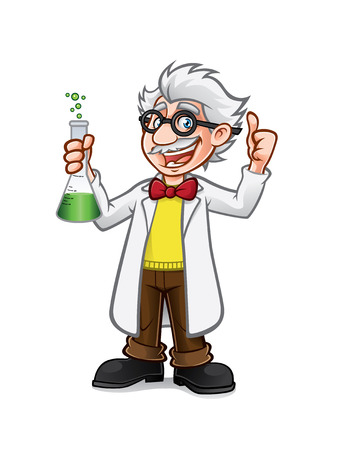 cartoon professor is holding the flask while a thumbs-up