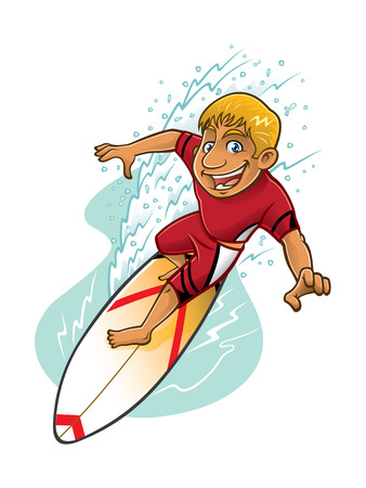 cartoon surfer is surfing on a wave with a smiling face Illustration