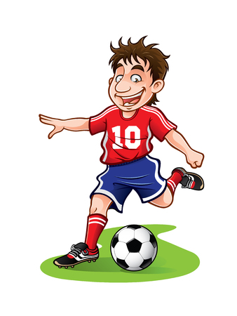 soccer player was going to kick the ball with a cheerful Illustration