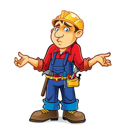 builder was an expression of regret with a sad face Vettoriali