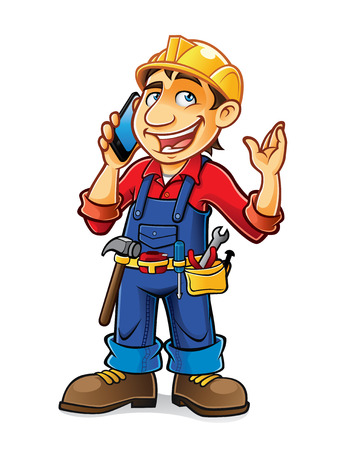 builder was deep in conversation with mobile phone