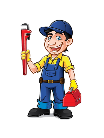 pipe wrench: plumber was standing holding a pipe wrench and tools with a smile
