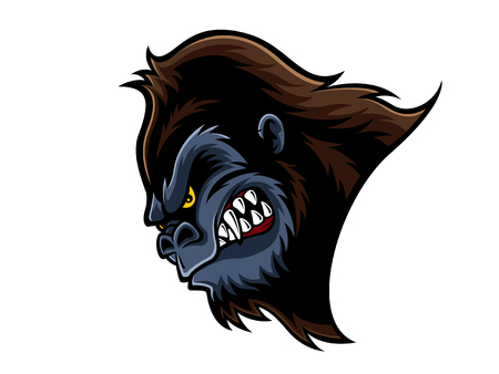 staring: cartoon gorilla who was very angry, staring and grinning