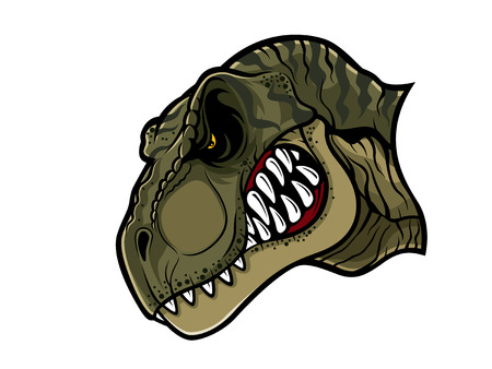 cartoon t-rex who was very angry, staring and grinning
