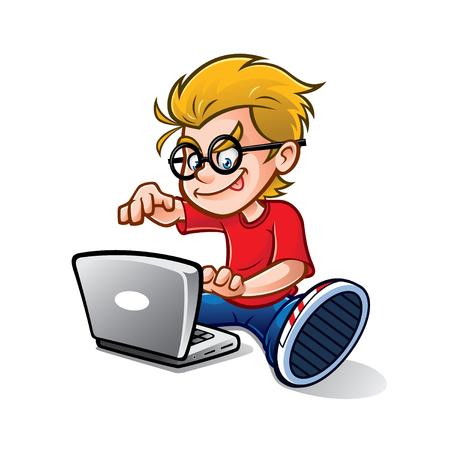niño de dibujos animados geek empollón está escribiendo con entusiasmo portátil