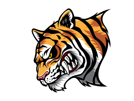 grinning: cartoon tiger who was very angry, staring and grinning Illustration