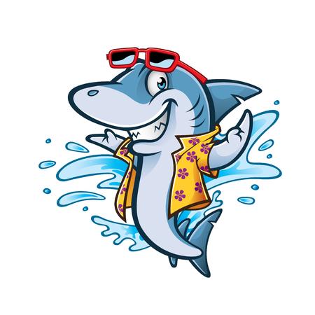 cartoon shark with beachwear and sunglasses smiling welcome