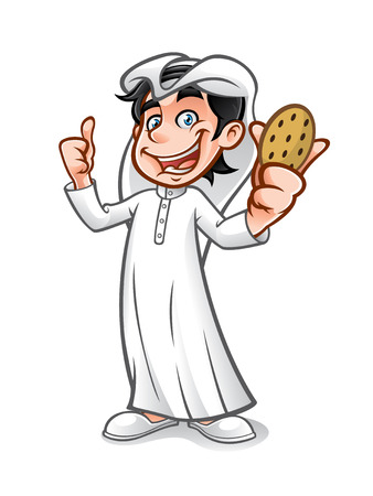 kid smile: cartoon arabian kid holding a cookie with a thumbs up and a big smile