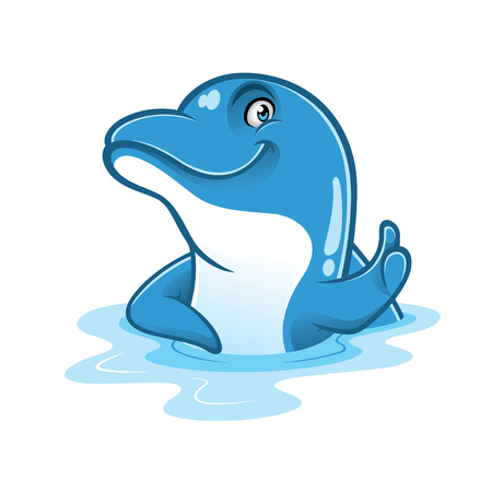 cartoon dolphin is smiling and thumbs-up