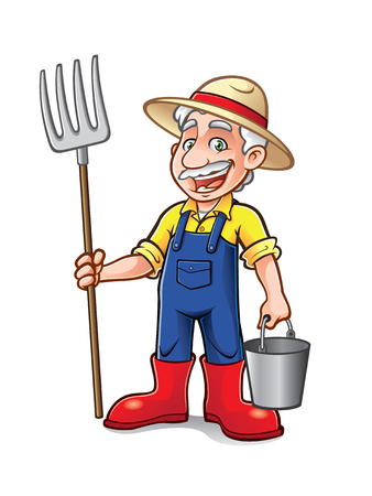 cartoon farmer was standing with a pitchfork and bucket with a big smile