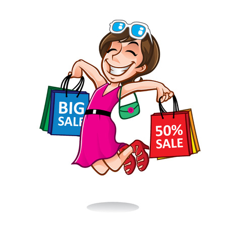 cartoon shopper girl jump excitedly while carrying a lot of shopping bags Çizim