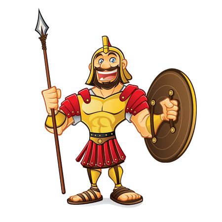 cartoon roman army was standing smiling broadly holding a spear and a shield
