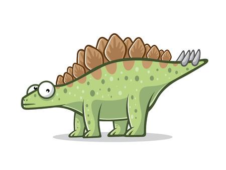 Cartoon stegosurus was standing with four legs
