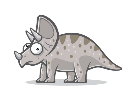 Cartoon triceratops was standing with four legs