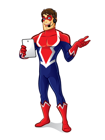 cartoon superhero wearing a mask and headset is holding gadget with a friendly smile