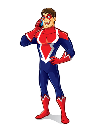 cartoon superhero wearing a mask is talking by handphone Çizim