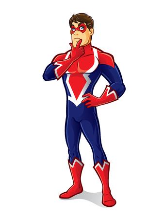 cartoon superhero wearing a mask is thinking